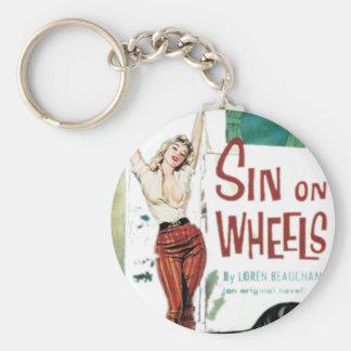 Sin On Wheels Pulp Fiction Basic Round Button Keychain
