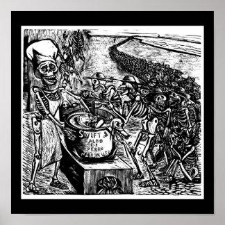 """""""Sin pan, tierra, o dinero, el trabajador huye Póster"""