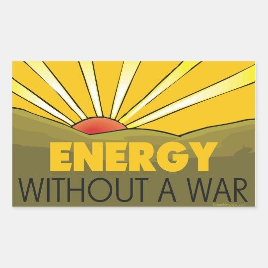 Sin una guerra solar pegatina rectangular