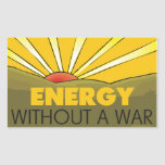 Sin una guerra solar rectangular pegatina