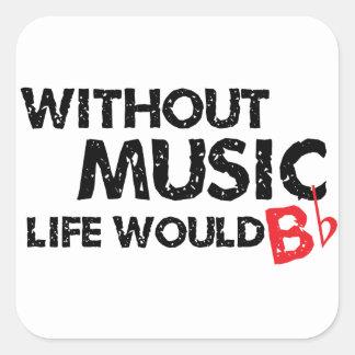 Sin vida de la música B (sea) plano Pegatina Cuadrada