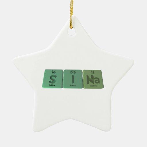 Sina as Sulfur Iodine Sodium Double-Sided Star Ceramic Christmas Ornament