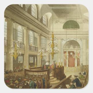 Sinagoga, duques Place, Houndsditch, de Ackerman Calcomanías Cuadradas