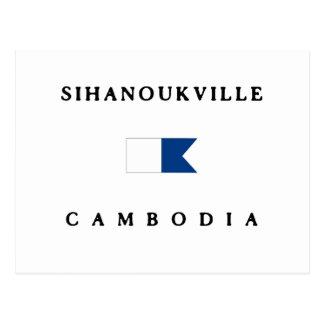 Sinahoukville Cambodia Alpha Dive Flag Postcard