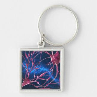 Sinapsis del nervio, ilustraciones del ordenador llavero cuadrado plateado