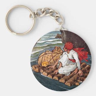Sinbad the Sailor Shipwreck Treasure Illustration Keychains