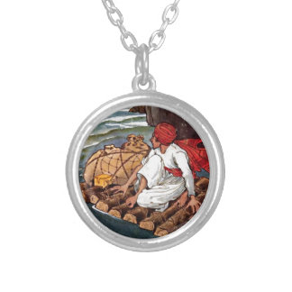 Sinbad the Sailor Shipwreck Treasure Illustration Silver Plated Necklace