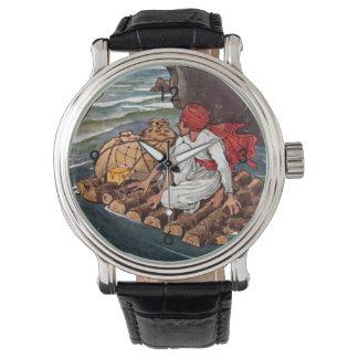 Sinbad the Sailor Shipwreck Treasure Illustration Wrist Watch
