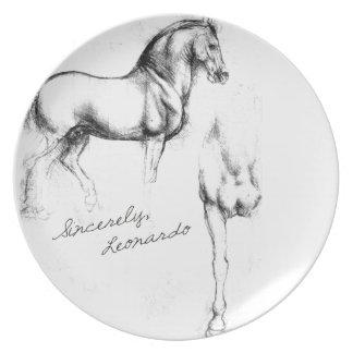 Sinceramente caballos de Leonardo Plato De Comida