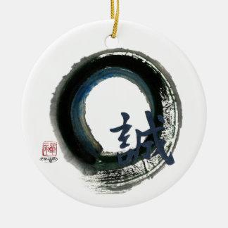 Sincerity Enso, Sumi-e Ceramic Ornament