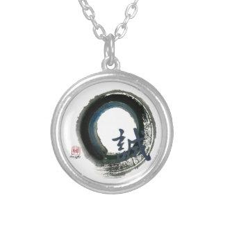 Sincerity Enso, Sumi-e Round Pendant Necklace