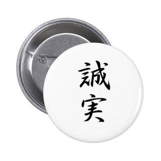 Sincerity Kanji 2 Inch Round Button