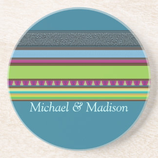 Sinclair Stripes Personalized Coaster
