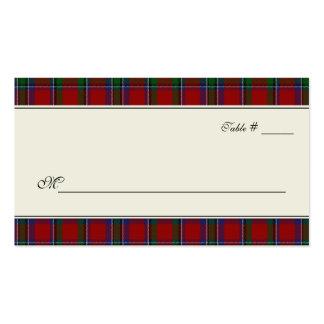 Sinclair Tartan Plaid Wedding Escort Place Card Business Cards