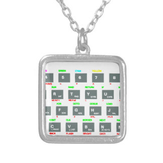 Sinclair ZX Spectrum Keyboard Keys Silver Plated Necklace