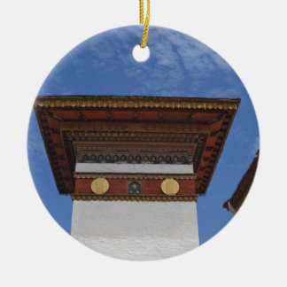 Sindokha Dzong, Dochu La Pass Double-Sided Ceramic Round Christmas Ornament