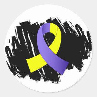 Síndrome de Down Blue Ribbon amarillo con garabato Etiqueta Redonda