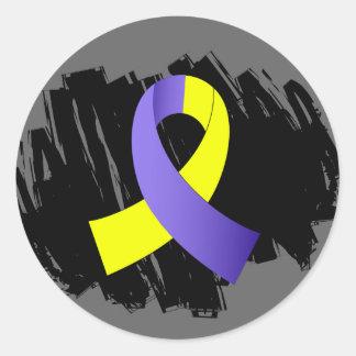 Síndrome de Down Blue Ribbon amarillo con garabato Pegatinas Redondas