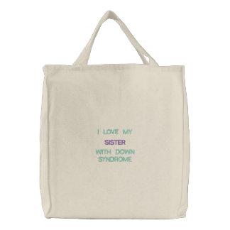 Síndrome de Down - hermana - bolso bordado Bolsas De Lienzo