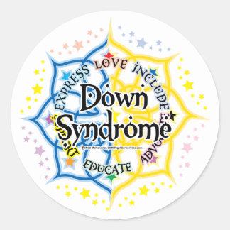 Síndrome de Down Lotus Pegatina Redonda