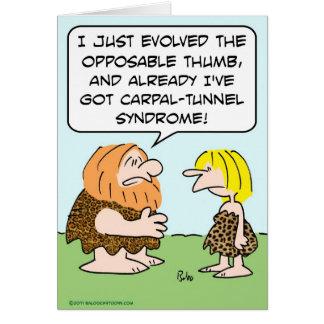 síndrome del túnel carpiano oponible del pulgar de tarjeta de felicitación