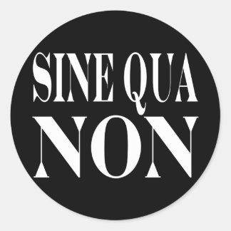 Sine Qua Non Famous Latin Quote: Words to live By Classic Round Sticker