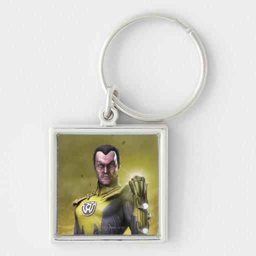 Sinestro Silver-Colored Square Keychain