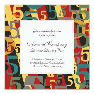 """Sinfonía # 5 quintos o quincuagésimos cumpleaños invitación 5.25"""" x 5.25"""""""
