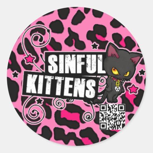 Sinful Kittens Pink Leopard BarCode Sticker