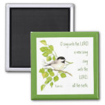 Sing a New Song to the Lord, Scripture & Bird 2 Inch Square Magnet
