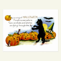Sing a Song of Halloween Postcard