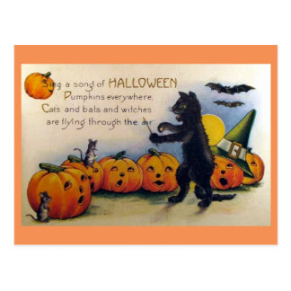 Sing a Song of Halloween Vintage Postcard
