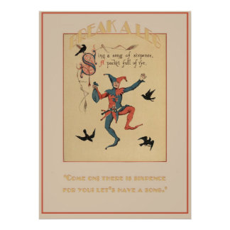 Sing a Song of Sixpence Good Luck Print