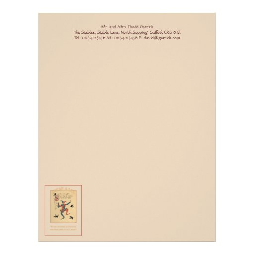 Sing a Song of Sixpence Good Luck Stationery Personalized Letterhead