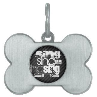 Sing; Black & Dark Gray Stripes Pet Name Tag