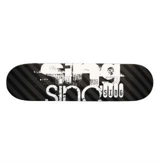 Sing; Black & Dark Gray Stripes Skate Board Decks