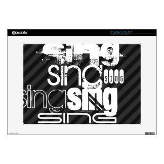 """Sing; Black & Dark Gray Stripes 15"""" Laptop Decal"""
