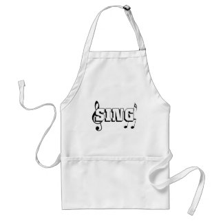Sing Design with music notes Adult Apron