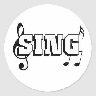 Sing Design with music notes Classic Round Sticker