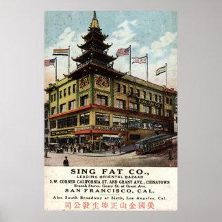 Sing Fat Chinatown San Francisco 1915 vintage Poster