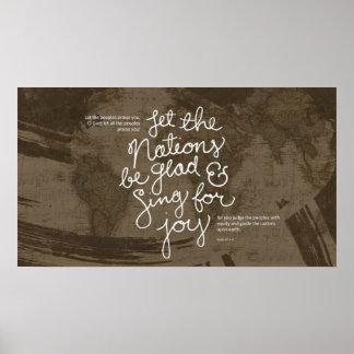 Sing for joy bible verse Psalm 67:3-4 poster