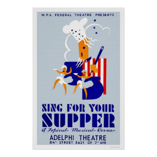 Sing For Supper Musical 1939 WPA Poster