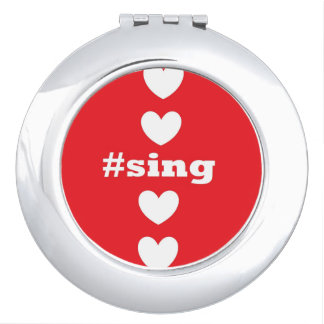 """SING HEARTS"" Red Compact Mirror"