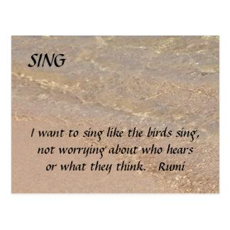 SING Inspirational Postcard Sand Beach Rumi
