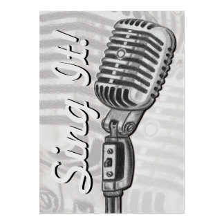 Sing It Vintage Microphone in Charcoal Poster