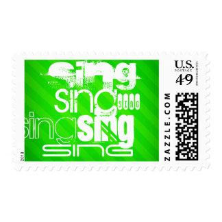 Sing; Neon Green Stripes Postage Stamp
