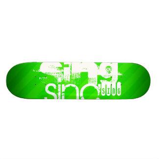 Sing; Neon Green Stripes Custom Skateboard