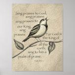 """Sing praise! poster<br><div class=""""desc"""">A sweet bird,  singing the Praises of God! A print of my original art piece!</div>"""