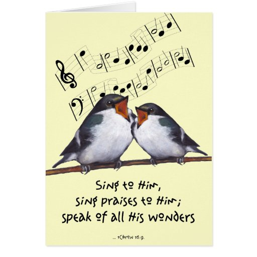 Sing Praise To God: Two Birds, Music Notes, Art Greeting Card