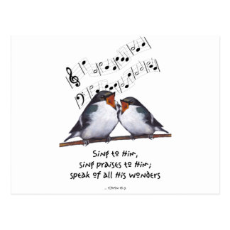 Sing Praise To God: Two Birds, Music Notes, Art Post Card